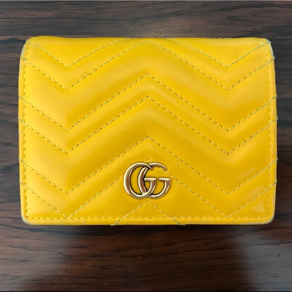 7d1dfa0b54228a Gucci Bags   Gg Marmont Yellow Leather Chevron Wallet   Poshmark